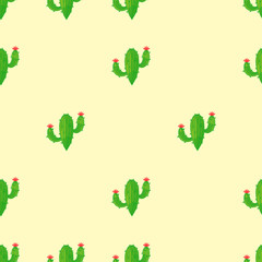 Seamless cactus pattern on light background. Vector.