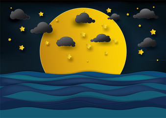 Vector and illustration graphic digital craft style, Moon and seascape,Idea for presentation EPS10.