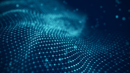 Data technology illustration. Abstract futuristic background. Wave with connecting dots and lines...