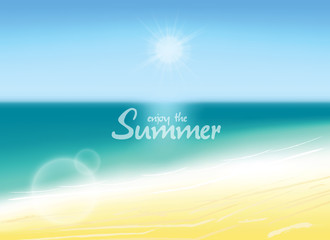 Summer background vector illustration. Blurred beach with enjoy the summer text