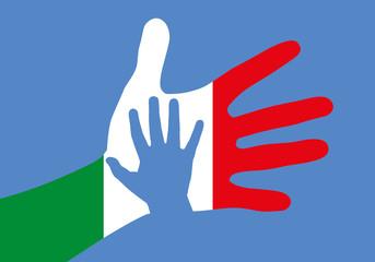 réfugié - migrant - Italie - main - immigration - drapeau - méditerranée - aider - accueil - frontière