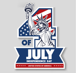 4 of July, day of independence, Statue of liberty, USA flag