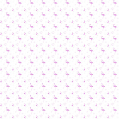 Seamless pattern, silhouette of pink flamingo with hearts