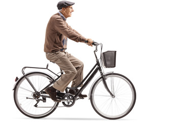 Senior riding a bicycle