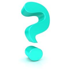 question mark 3d turquoise interrogation