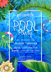 Summer party invitation template invitation. Pool party invitation with umbrellas. Poster or flyer Summer party vector design.
