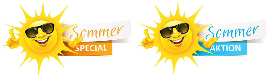 Cartoon Sonne mit Sonnenbrille und Banner - Sommer Aktion, Special Set