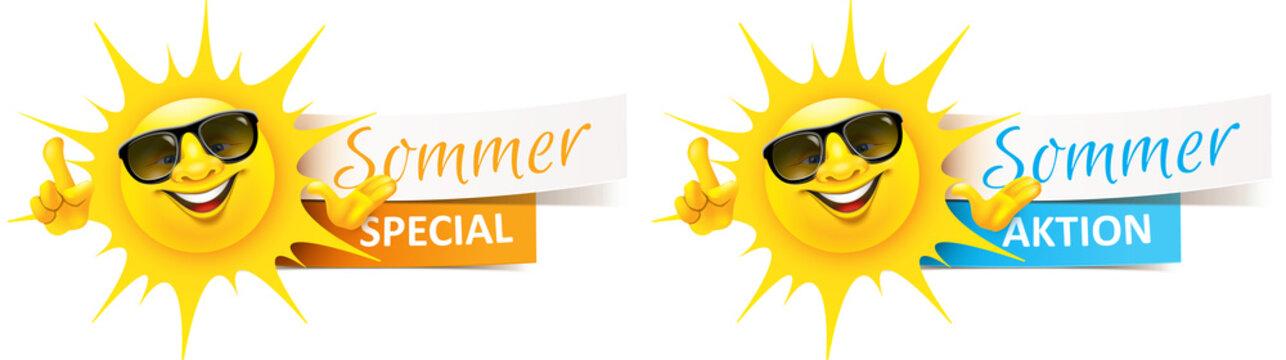 Cartoon Sonne mit Sonnenbrille und Banner - Sommer Aktion, Special Set