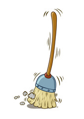 A cartoon broom sweeping by itself. Vector illustration