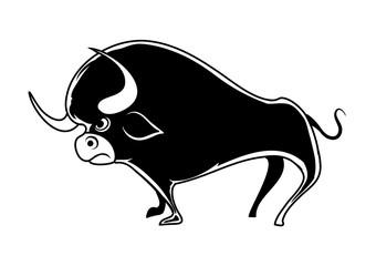 Cartoon Black Bull. Vector illustration