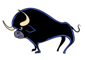 Cartoon bull. Vector illustration