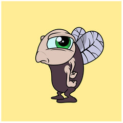 A funny fly character in cartoon style. Vector Illustration