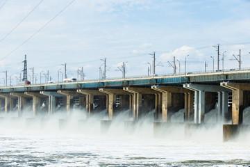 Hydroelectric power station. Water dumping. Volgograd, Volga river, Russia