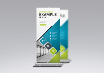 Blue, Gray, and Green Business Banner Layout
