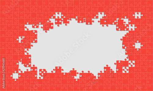 Red Background Puzzle. Jigsaw Puzzle Frame.\