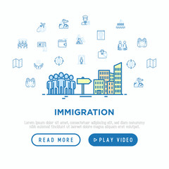 Immigration concept group of people moving on big city. Thin line icons: immigrants, illegals, baggage examination, inspection, refugee camp, social benefit. Vector illustration, web page template.