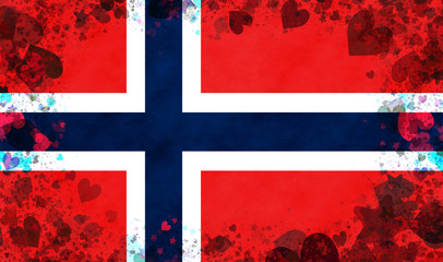Illustration of a Norwegian flag with small hearts as a frame