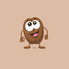 Illustration of cute surprised coffee bean mascot with big smile isolated on light background. Flat design style for your mascot branding.