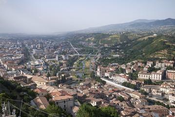 Cosenza, Italy - June 12, 2018 : View of Cosenza from Normanno-Svevo castle