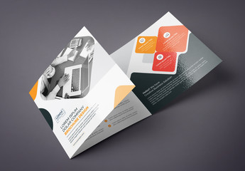 Orange and Black Square Tri-Fold Brochure Layout