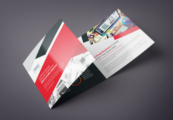 Red and Black Square Tri-Fold Brochure Layout