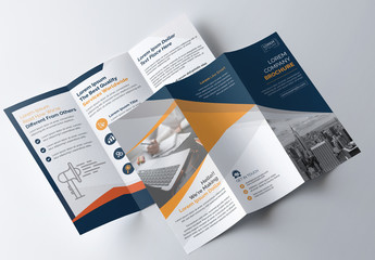 Blue and Orange Tri-Fold Brochure Layout