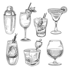 Alcoholic cocktails sketch
