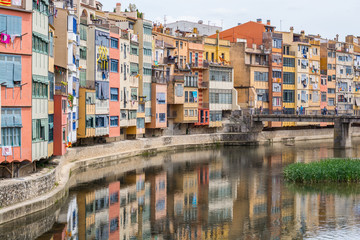View of the river Onyar in Girona, Spain