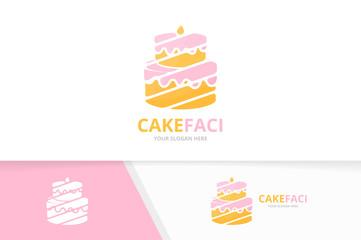 Vector cake logo combination. Pie symbol or icon. Unique cupcake logotype design template.