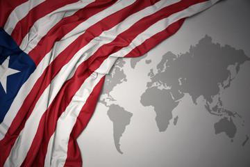 waving colorful national flag of liberia.