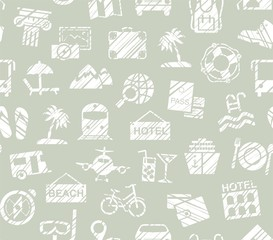 Travel, vacation, Hiking, leisure, seamless pattern, pencil shading, gray, vector. Different types of holidays and ways of travelling. White drawings on a gray-green background.