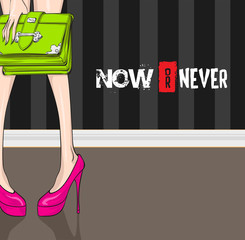 woman's slender legs in high-heeled shoes with a handbag in the hands on a striped wall background with an inscription