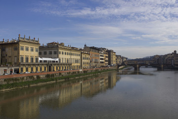 Florence cityscape on Arno river at day time, Italy
