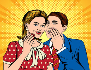 Vector colorful pop art comic style illustration of a man telling a secret to a woman. Two close colleagues are speaking