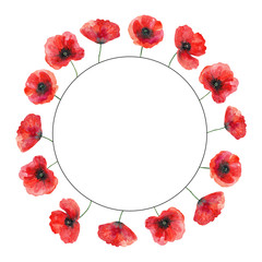 Watercolor template with poppies