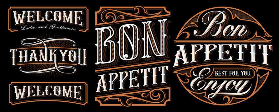 Set of vintage lettering designs for the catering.