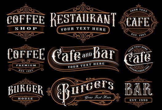 Set of vintage lettering illustration for the catering.