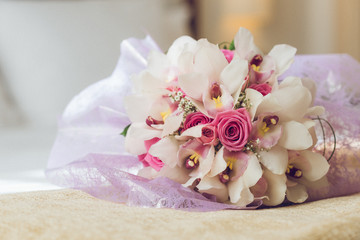 Wedding bunch of beautiful flowers