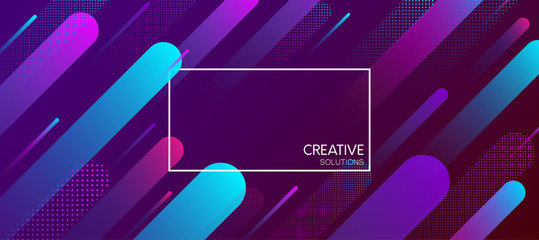 Purple creative solutions background with geometric pattern.