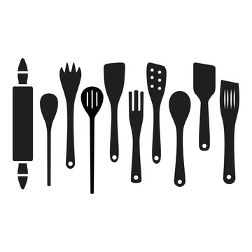 Cooking wooden kitchen tools spoons spatulas etc up down