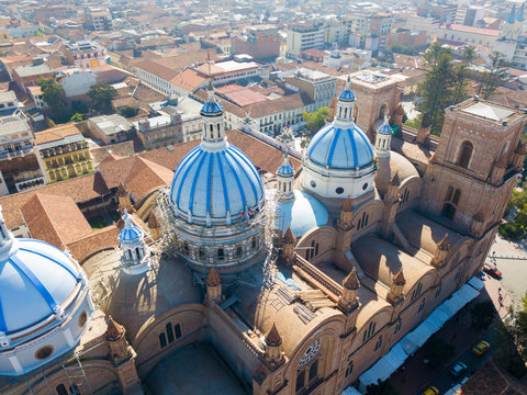 Ecuador Cuenca aerial view of the domes of the cathedral