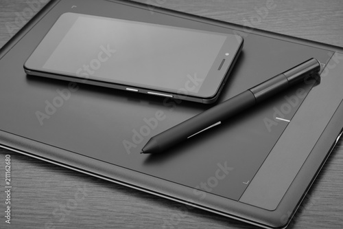 smartphone and graphic tablet also known as a digital drawing