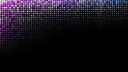 Black background with colorful halftone dotted pattern.