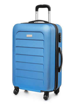 Blue plastic suitcase