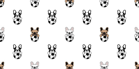 Dog seamless pattern french bulldog vector soccer football cartoon repeat background tile wallpaper isolated