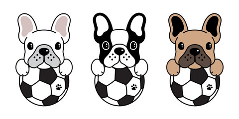 dog vector french bulldog icon logo cartoon soccer football fifa illustration symbol