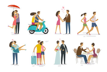 Loving couple, set of icons. Family, love concept. Cartoon vector illustration