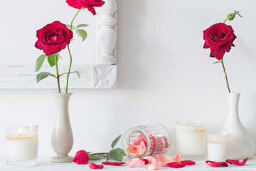 red roses and candles on white background