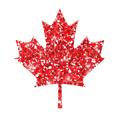 Sign of canada red maple leaf. Red glitter vector