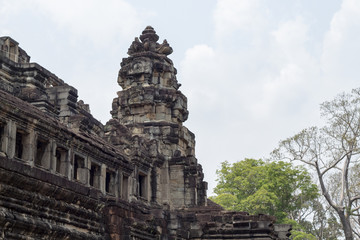 Ancient temple remains in Angkor Wat. Baphuon temple tower landscape. Buddhist or hindu temple